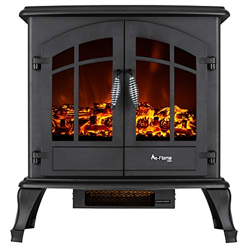 e-Flame USA Jasper Freestanding Electric Fireplace Stove - 3-D Log and Fire Effect (Black)