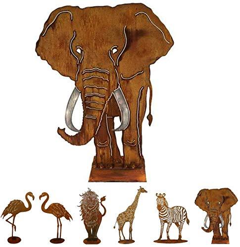 Gartenfigur Rost auf festem Stand – Hochwertig & Wetterfest - Metall Tierfigur - Edelrost Dekofigur / Tier Figur – Gartendeko / Dekoration (Elefant - Höhe 120cm)