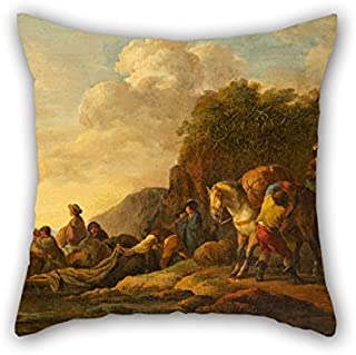 Oil Painting Casanova, Francesco Giuseppe - Ferry Boat Cushion Covers 18 X 18 Inch /