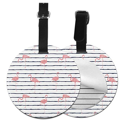 Waterproof Luggage Tag Cool Striped Summer Flamingo Persnalized Luggage Tag Travel Bag Tags Fun with Adjustable Black Strap for Bags & Baggage with Privacy Protection for Women Men