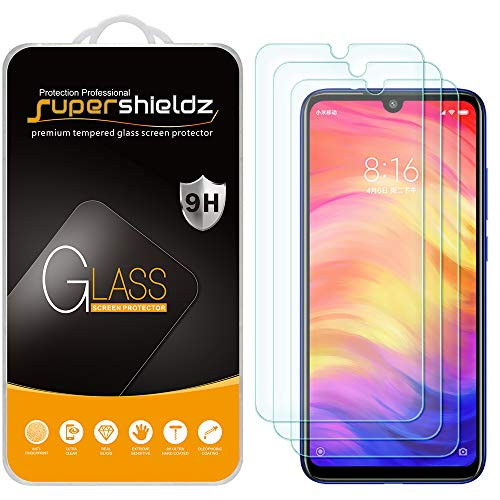 (3 Pack) Supershieldz for Xiaomi (Redmi Note 7) Tempered Glass Screen Protector, Anti Scratch, Bubble Free