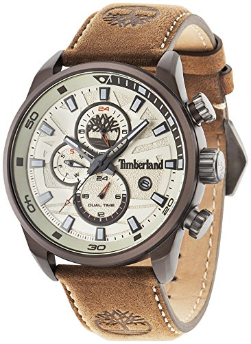 Timberland Henniker II–Reloj de hombre de cuarzo beige con esfera analógica pantalla y correa de cuero marrón 14816JLBN