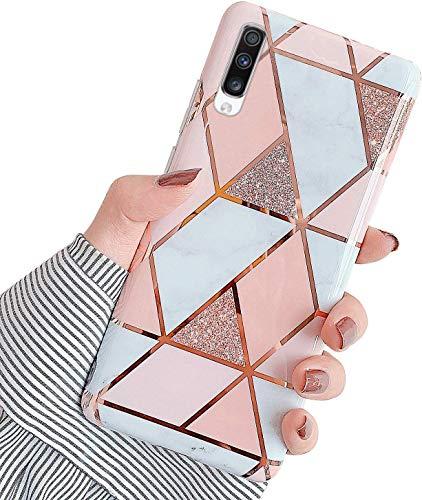 Herbests Kompatibel mit Samsung Galaxy A70 Hülle Silikon Weich TPU Handyhülle Glitzer Glänzend Marmor Muster Ultra Dünn Schutzhülle Marble Case Kratzfeste Stoßfest Tasche,Rose Gold