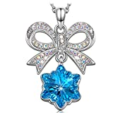 Kate Lynn Necklaces for Women Jewelry Gifts Blue Crystals Pendant Necklace Snowflake Bow Necklace for Girls from Mom Birthday Gifts for Daughter Sister Gifts for Her