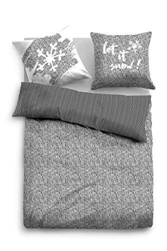 TOM TAILOR 0069813 Parure de lit en Satin de Coton avec taie d'oreiller 135 x 200 cm et 1 taie d'oreiller 80 x 80 cm Gris