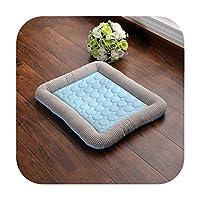 夏の冷却ペット犬マットソフトアイスパッド子犬睡眠マット猫猫犬小屋ポータブルクールコールドシルクベッドペット巣用品-Blue1-43x33cm