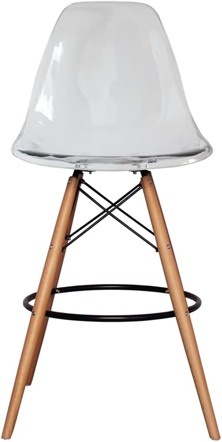 silver Import PDI-PC-016WH-TR Eames Style Eiffel Stool in Transparent Acrylic with Natural Base