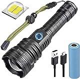 WholeFire Linterna LED XHP90 Alta Potencia 10000 Lúmenes, USB Recargable Impermeable 5 Modos de Zoom, P90 Linterna Táctica Militar con Batería y Cable USB