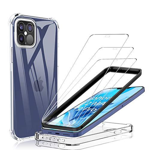 """YockTec Vetro Temperato per iPhone 12 PRO/iPhone 12 Max Pellicola Protettiva[3 Pezzi]+Cover per iPhone 12 PRO Custodia Protettiva [Trasparente] Protezione Schermo per iPhone 12 PRO/iPhone 12 Max 6.1"""""""