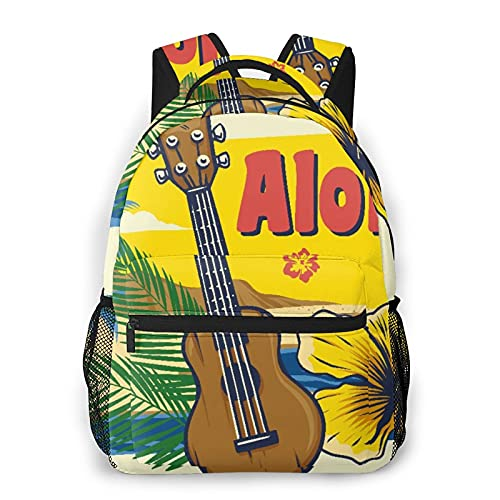 GKGYGZL Zaino casual classico,Aloha Hawaii Ukulele stile vintage,Borsa per libri da scuola universitaria con zainetto per computer resistente all acqua di grandi dimensioni