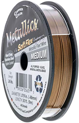 Soft Flex Kink-Resistant Knot-Tying Hypo-Allergenic Wire for Jewelry Making, 49 Strand Braided Stainless Steel Beading Wire, .019in/.48mm Medium Diameter, 30ft/9m with Copper Color Nylon Coating