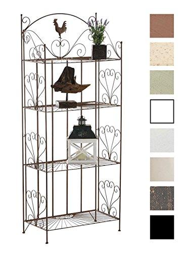 CLP Standregal MIA aus Eisen I Klappregal mit 4 Ablagefächern im Landhausstil I erhältlich, Farbe:antik braun