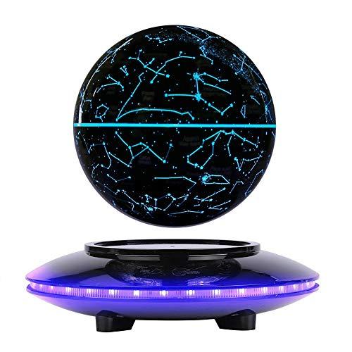 Globo Flotante de levitación magnética gira del mapa del mundo utilizar como decoración del escritorio del hogar o de oficina, un gran regalo que sorprenderá a su familias y amigos (Negro morado)