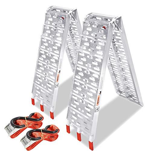 Asina Rampes de Chargement Pliables Rail Antidérapant Rampe Robuste en Aluminium Capacité Jusquà 680 kg par Paire pour Remorques de Moto Caravanes Van Cars(Type A, 2 pièces)