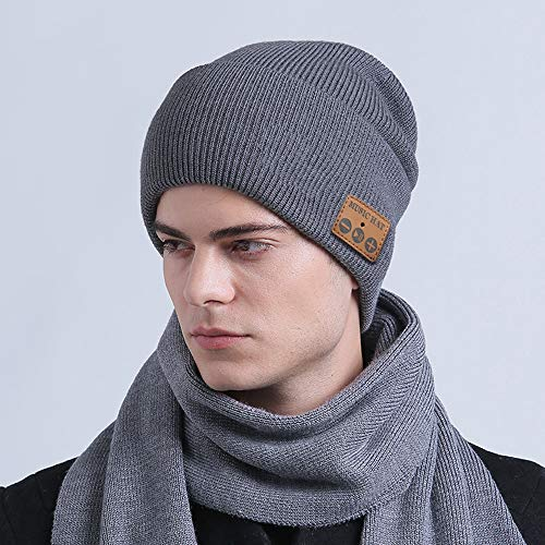 Bluetooth Beanie Hat with Headphones V5.0 Unique Christmas Tech Gifts for Teens/Boys/Girls/Men/Husband/Boyfriend/Him/Young Women/Mom, Outdoor Sport Unisex Knit Beanie with Stereo Speakers & Mic