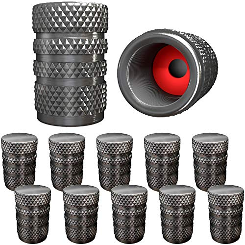 SAMIKIVA (12 Pack ) Aluminum Tire Valve Stem Caps, Metal with Rubber Ring, Dust Proof Cover Universal fit for Cars, SUVs, Bike and Bicycle, Trucks, Motorcycles Metal (Gray (12 Pack))