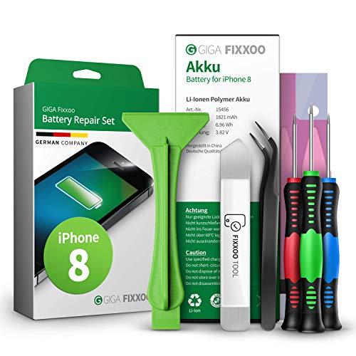 GIGA Fixxoo Akku Reparatur-Set für iPhone 8   Kapazität wie Original-Akku   Ersatz-Akku mit Werkzeug-Kit für einfachen Austausch mit Anleitung bei defekter Batterie