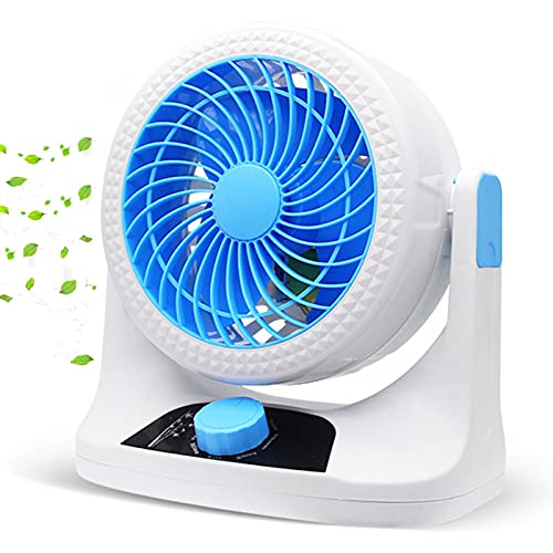 KUMADAI Ventilador Portatil de Pie Ventilador Pequeño Bajo Consumo Ventilador de Mesa Silencioso 3 Modos Grado de Inclinación Aprox 110grado Oscilante Turbofan Adecuado con Enchufe(Azul)