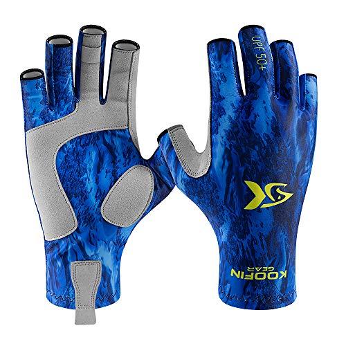 KOOFIN GEAR Fishing Gloves Sun Protection Fingerless Gloves UPF50 Men Women for Outdoor Kayaking Hiking Paddling Driving Canoeing Rowing,Deap Sea-Large