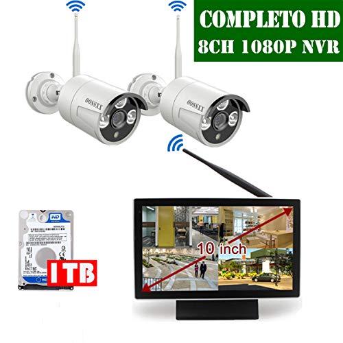 【2020 Nuovo】Kit Sorveglianza Telecamera 8 Canali Di Sorveglianza Wireless Esterno, Videosorveglianza WiFi Esterno 1080P, Monitor LCD da 10' 2 x 1080P Videosorveglianza IP67 Camera, 1TB Disco Rigido