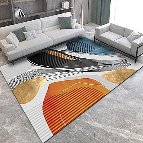 Kunsen Alfombra Dormitorio Beige Naranja Negro Oro línea geométrico diseño Sala de...