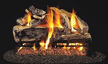 Real Fyre 24-inch Charred Rugged Split Oak Vented Gas Logs Bundled with G4 Burner Kit (Natural Gas) - Match Lit