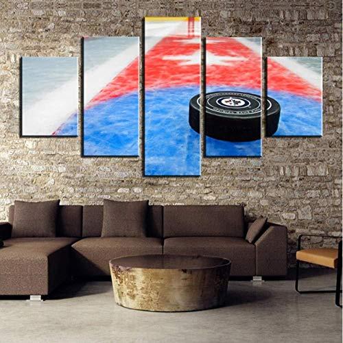 WRZWRMWeihnachten 5 Stück HD Druck Malerei Eishockey Sport Landschaft Leinwand Wandkunst Wohnkultur Für Wohnzimmer Einzigartiges Geschenk Wand Bild-16x24 / 32/40 zoll, ohne rahmen