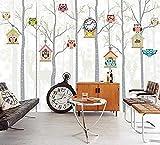 ZZXIAO Pared Pintado Papel tapiz 3D Deer Trees Cute OWL 3D Cartoon Wallpaper Wallpaper Mural para la sala de estar Decoración de Decoración Fotográfico Fotomural sala sofá pared mural-200cm×140cm