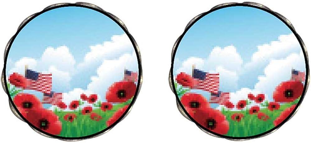 Bronze Retro Style Memorial Day poppies American flags Clip On Earrings Flower Earrings #12