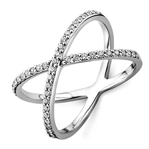 Miore Women's Sterling Silver (925) Designer Ring with Brilliant Cut Zirconia