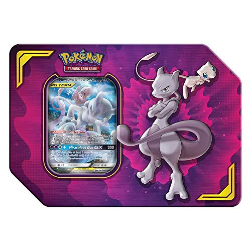 Pokemon TCG: Tag Team Mewtwo & Mew Tin | 4 Booster Pack | 1 Metal Tag Team Gx Marker | 1 of 3 Foil Tag Team -GX, Multicolor