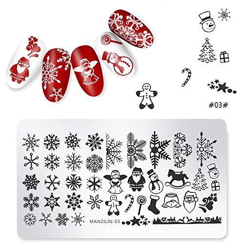Starter 5 PCS Plaque Stamping Nail Art Set De Motif De Noel - Motif De Flocons De Neige/Père Noël/Bonhomme De Neige/Arbre De Noël - Idéale Cadeau De Noël Pour Fille Enfant