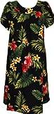 RJC Women's Tropical Summer Hibiscus Tea Length Hawaiian Muumuu House Dress Black Large