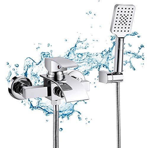 Badewannenarmatur mit 3 Funktionen Handbrause Wasserfall, WOOHSE Mischbatterie Badewanne Armaturen Wand, Einhand-Brausebatterie für Badezimmer Dusche