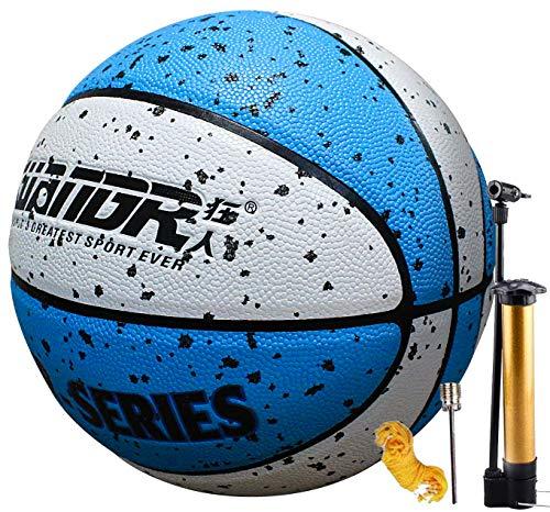 Senston Baloncesto con Bomba, Adultos Niños Cuero PU Baloncesto Talla 5, Interior Al Aire Libre Pelota Juego