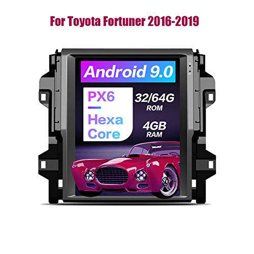 YLCCC 12,1-Zoll-Android 9.0 PX6 Carplay Für Toyota Fortuner 2016-2019 Vertikal Tesla Radio-Autoradio GPS-Navigation DSP SWC, 4 + 32G