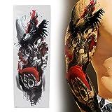 Tatuajes temporales impermeables de brazo completo, pegatina de tatuaje de brazo impermeable de patrón único, pegatina de tatuaje de brazo completo temporal Unisex(TQB-075)