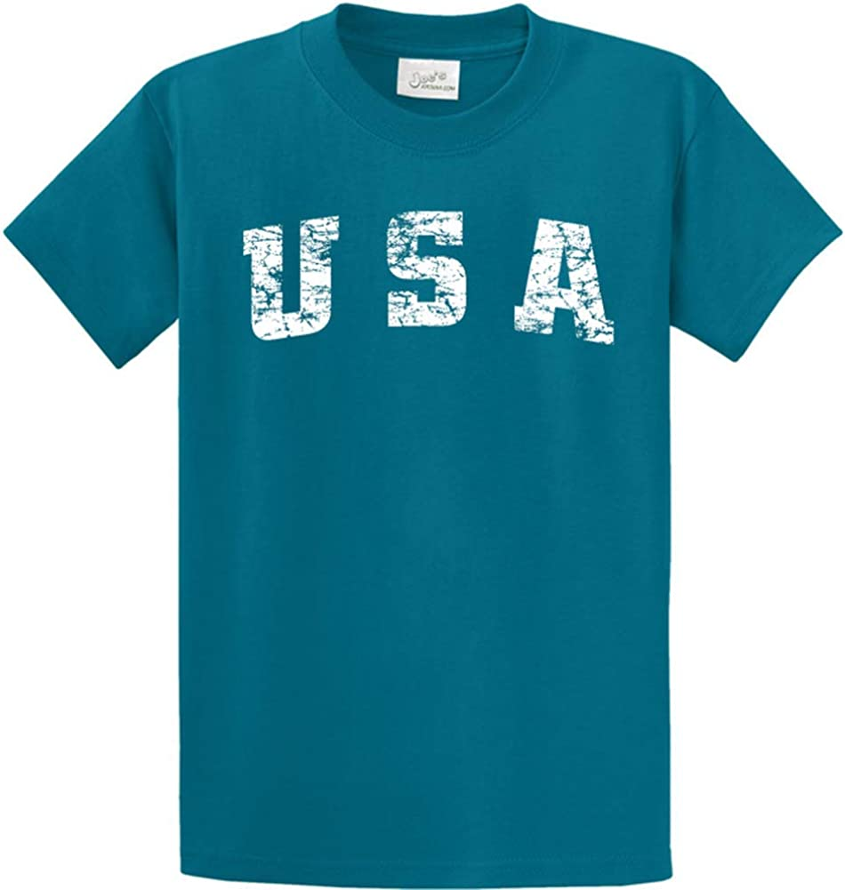 Joe's USA -Tall Vintage USA Logo Tee T-Shirts in Size 2X-Large Tall -2XLT Teal