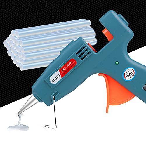 BANJILI- Pistolet à Colle 20W Dual Power avec 60Pcs (7mm) Couleur et Bâtons de Colle Blanche pour l'artisanat Projets de Cartes en Papier Bricolage Réparation à Domicile