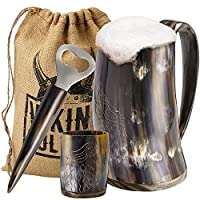Viking Culture Ox Horn Mug, Shot Glass, and Bottle Opener (3 Pc. Set) Authentic 16-oz. Ale, Mead, and Beer Tankard | Vintage Stein with Handle | Custom Intricate Design - Polished Finish | Wolf/Fenrir