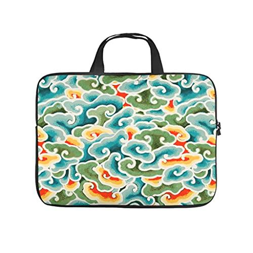 Facbalaign Borsa per computer portatile in stile giapponese, con motivo a nuvole, antigraffio, con manico, bianco, 15 pollici,