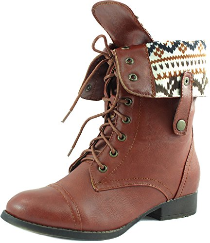 dbdk ankle boots DBDK SHARPERY-1 Women's lace up Combat Style mid Calf Boots