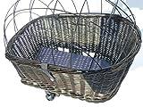 Tigana – Hundefahrradkorb für Gepäckträger aus Weide 60 x 39 cm mit Metallgitter + Kissen Tierkorb Hinterradkorb Hundekorb für Fahrrad – SCHWARZ - 3