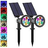 LED Solar Spotlights,T-SUNRISE 7 LED Color-Changing Garden Solar Lights,Security Lighting, Path Lights,Landscape Light