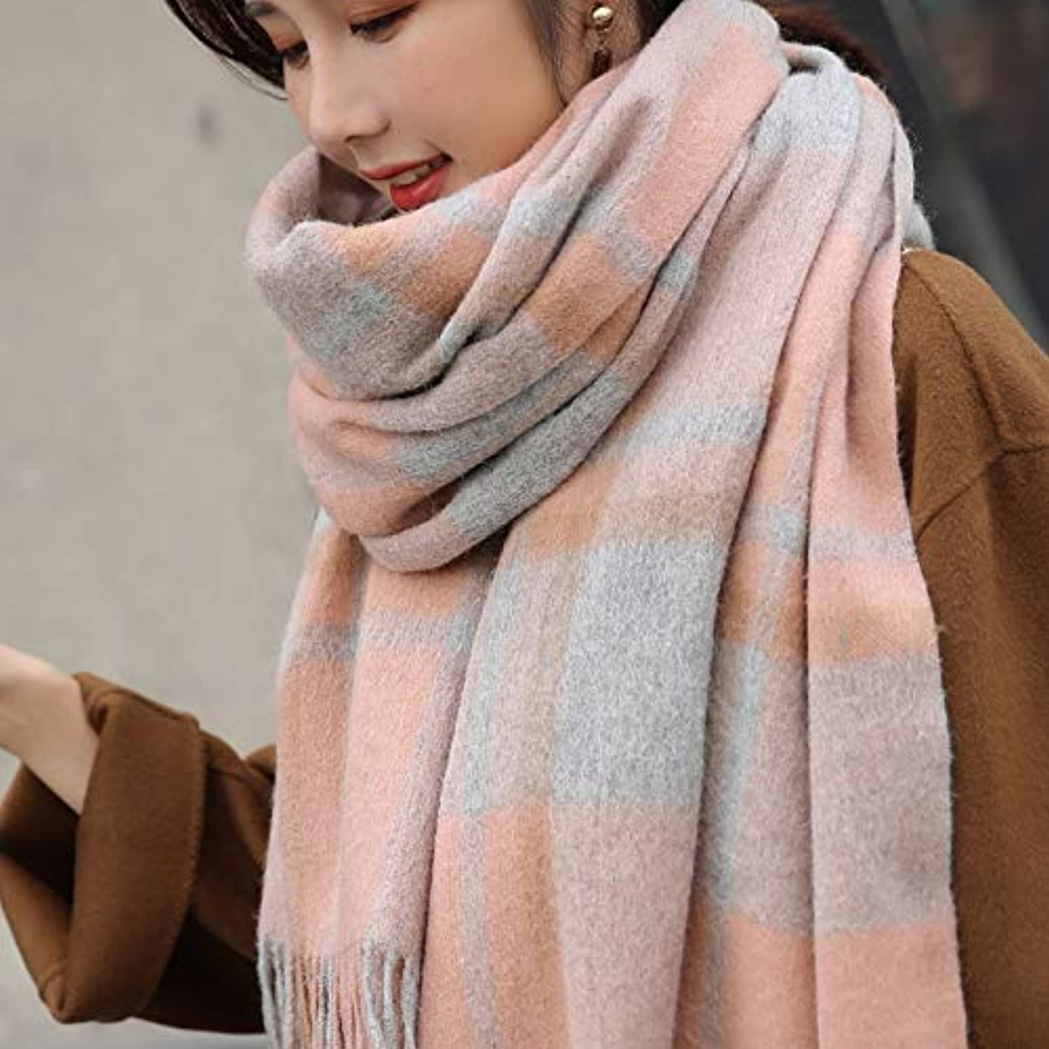 JINGB Home Plush Scarf Female Autumn and Winter Wild Plaid Super Large Spring and Autumn Long Section Shawl Thick Warm (color   orange)