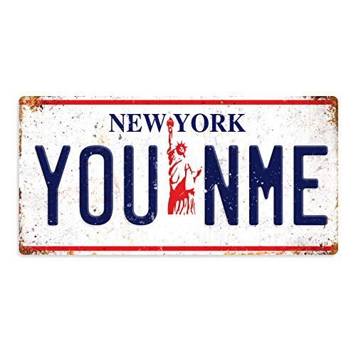 Personalised American Number Plates - Custom New York - Liberty White – Sticky Pads | Printed Metal Wall Sign Plaque Printed Metal Wall Sign Plaque Show Plate
