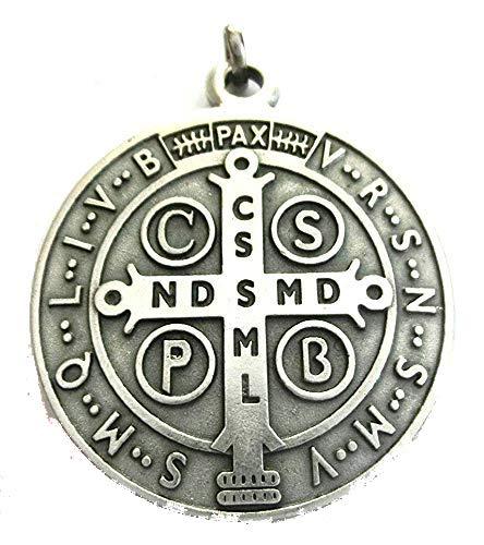 GTBITALY 60.050.30 medalla de San Benito de plata medida 48 mm con anillo prete exorcismo Suora Iglesia sacerdote Santo