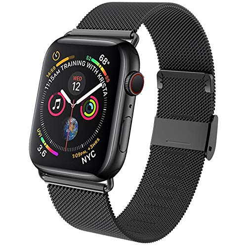 GBPOOT Compatible for Apple Watch Band 38mm 40mm 42mm 44mm, Wristband Loop Replacement Band for Iwatch Series 4,Series 3,Series 2,Series 1,Black,38mm/40mm