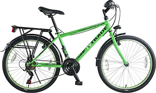 24 Zoll Kinder City Fahrrad Kinderfahrrad Cityfahrrad Cityrad Citybike Bike Rad Jugendfahrrad 21 Shimano Gang Voltage Man GRÜN TYT19-043