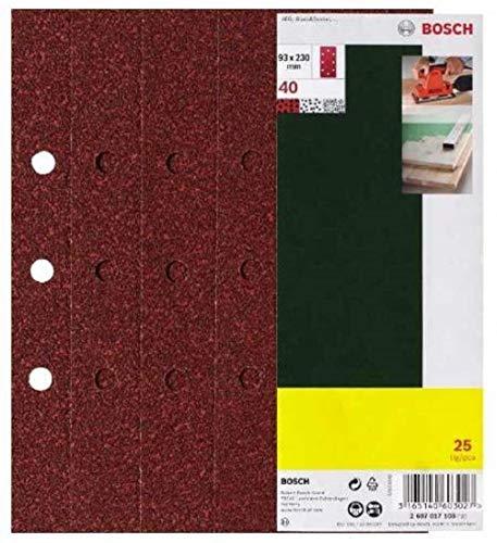 Bosch 25-teiliges Schleifblatt-Set für Schwingschleifer, 93 x 230 mm, 8 Löcher, Körnung 60, 2607017098